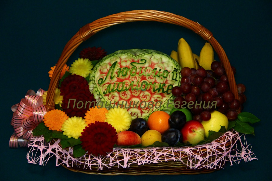 Корзина с фруктами поздравительная
