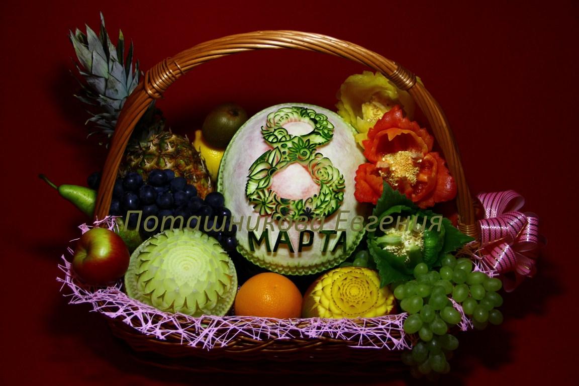 Корзина с фруктами на 8 марта