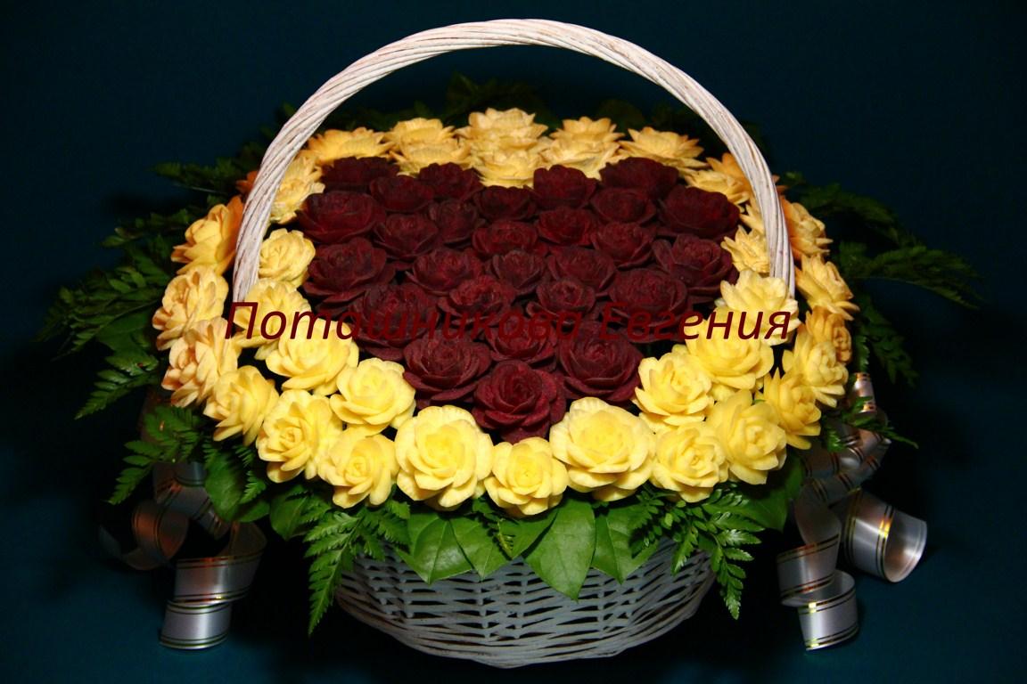 Корзина с цветами с сердцем